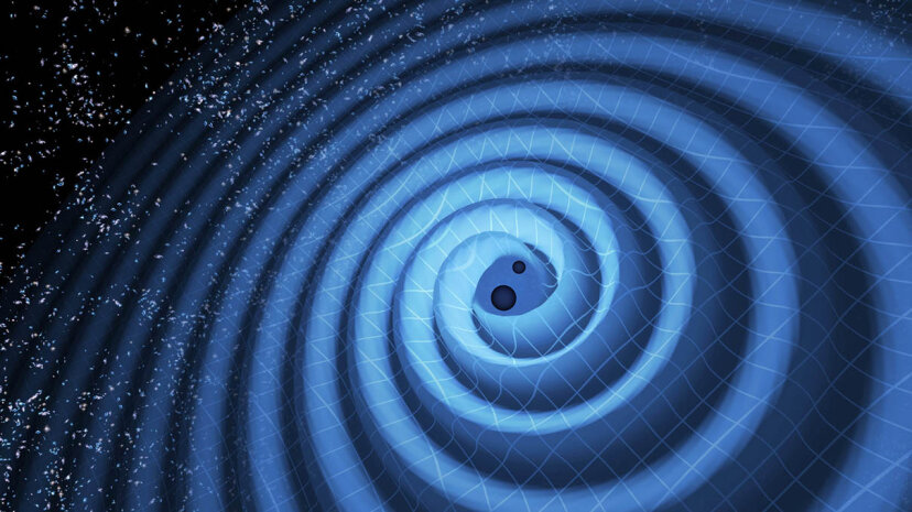 Two black holes spiral toward each other and send gravitational waves rippling outward