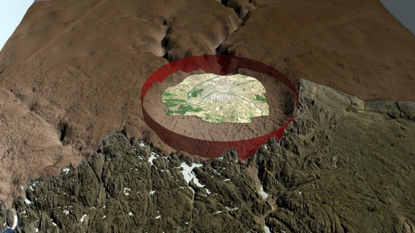 Grönlandkrater erstmals unter Gletschereisschild gefunden