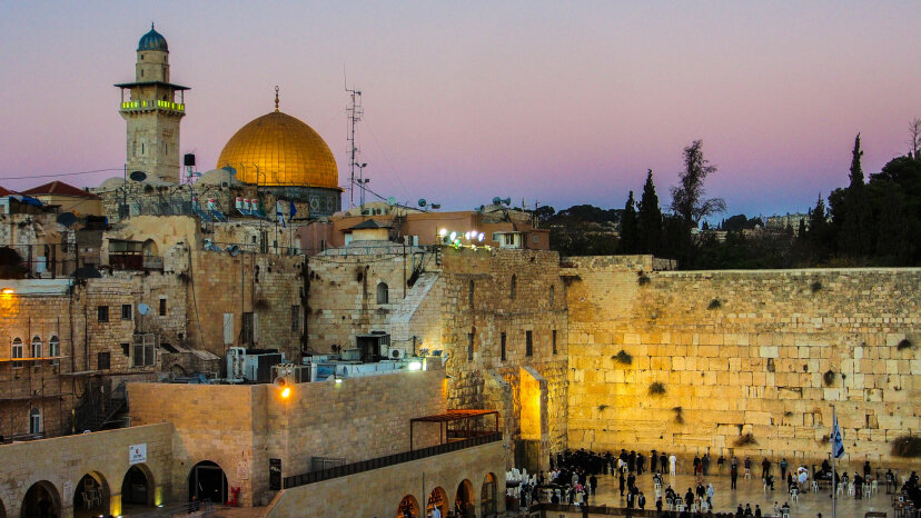 This shot of Jerusalem shows the Wailing Wall in the foreground, the holiest site in Judaism, with the gold Dome of the Rock in the background, the third most-sacred site in Islam.    Daniel Zelazo/Getty Images