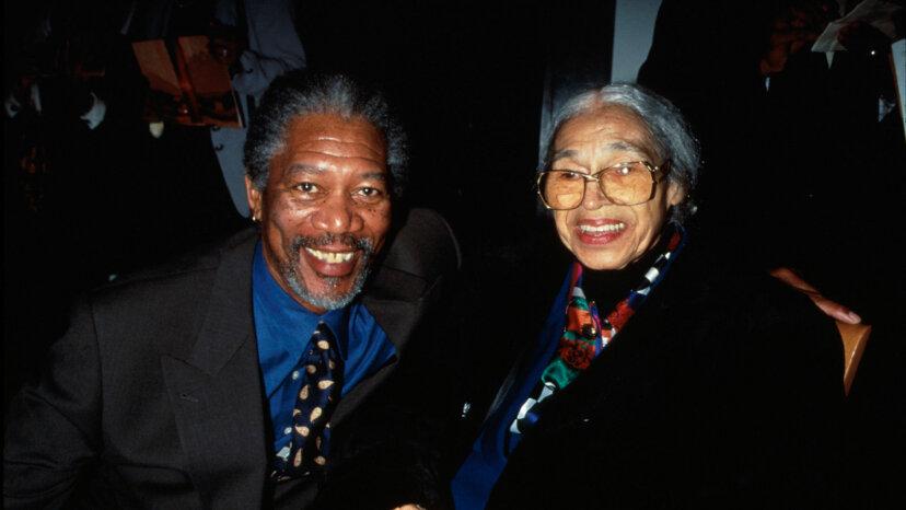 Morgan Freeman and civil rights pioneer Rosa Parks