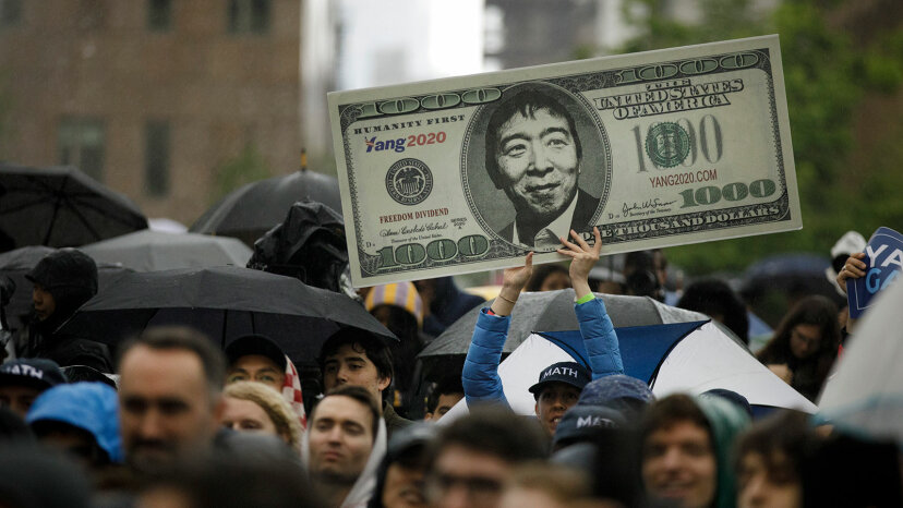 Sign supporting Yang's $1,000 UBI