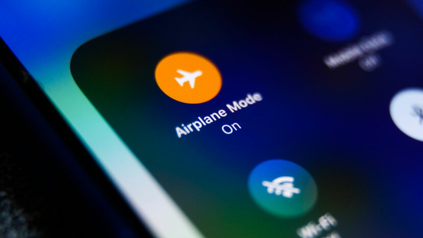 Airplane Mode icon is seen displayed on a phone screen
