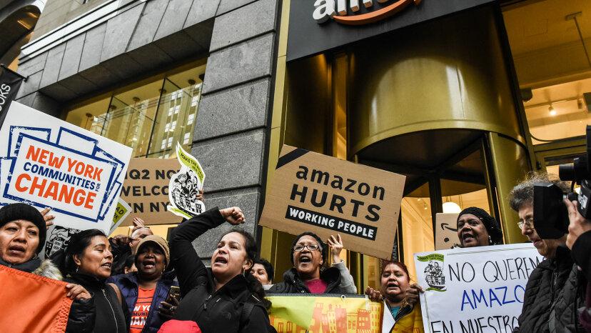 NYC protestors Amazon