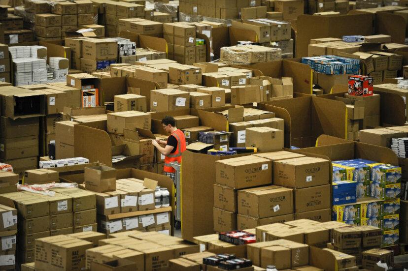 cardboard packaging, amazon, piles of cardboard