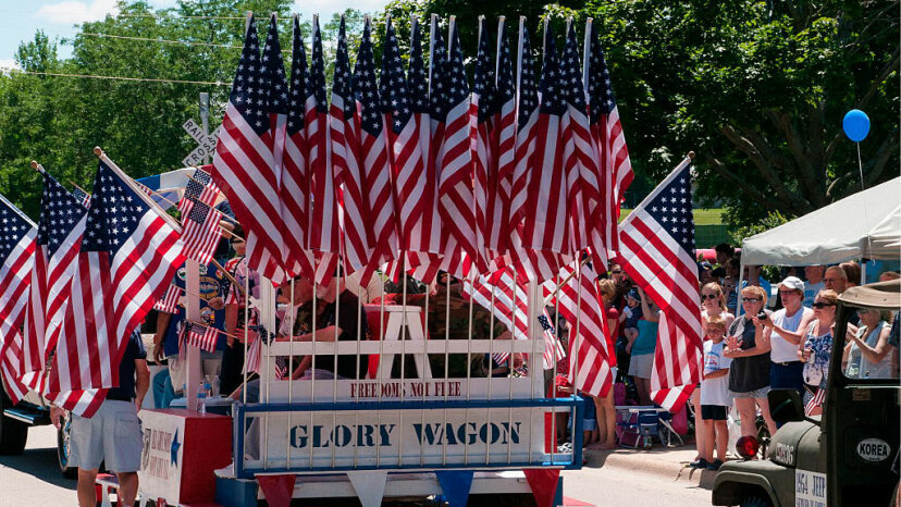 flag-decked float, 4th of July parade