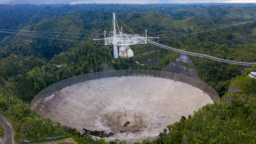 hole in the dish panels of the Arecibo Observatory