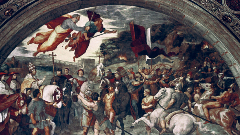 """Raphael painted """"Pope Leo I, Repulsing Attila,"""" which tells the legend of the two men's fateful meeting, with Saints Peter and Paul flying overhead. Art Media/Print Collector/Getty Images"""