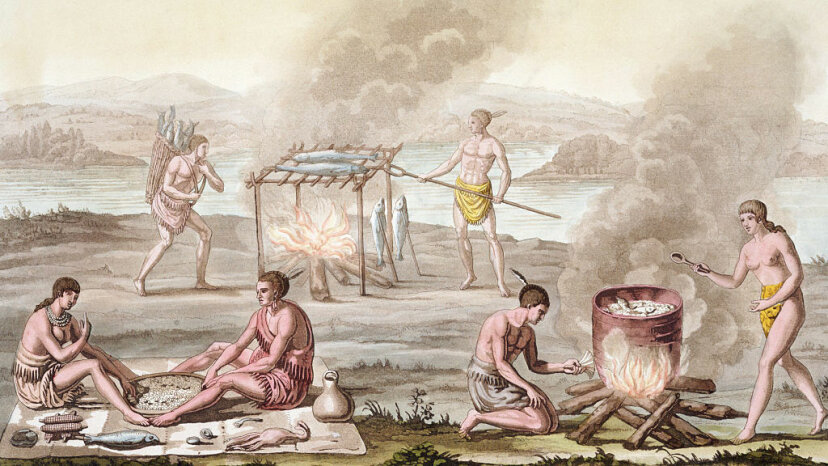 This print shows early Native Americans preparing fish in the style of barbecue. Historical Picture Archive/CORBIS/Corbis via Getty Images