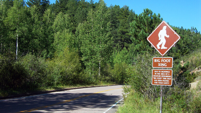 A Bigfoot crossing sign on Pike's Peak Road in Colorado warns drivers of the potential for Bigfoot sightings in the area. flickr.com/Jimmy Emerson, DVM.