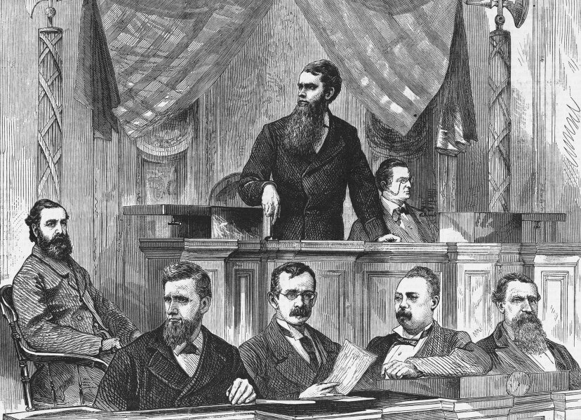 Thomas Ferry, the Senate president, announces the results of the election between Rutherford B. Hayes and Samuel J. Tilden. The final vote which declared Hayes the new President by one electoral vote, could not be announced until 4 a.m. Bettmann/Getty Images