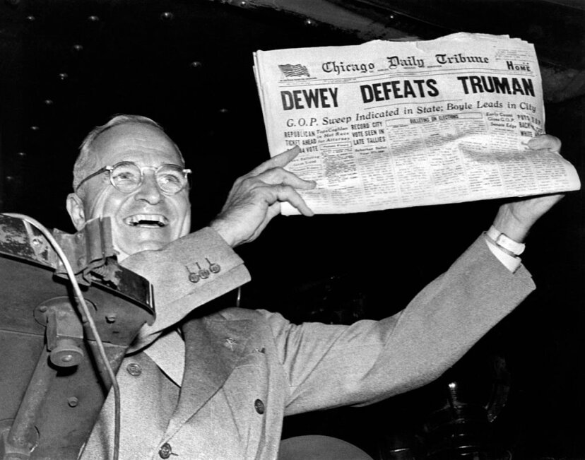 President Harry Truman holds up a copy of the Chicago Daily Tribune declaring his defeat to Thomas Dewey in the presidential election, St. Louis, Missouri. It's one of the most famous examples of a newspaper getting the story wrong. Underwood Archives/Getty Images