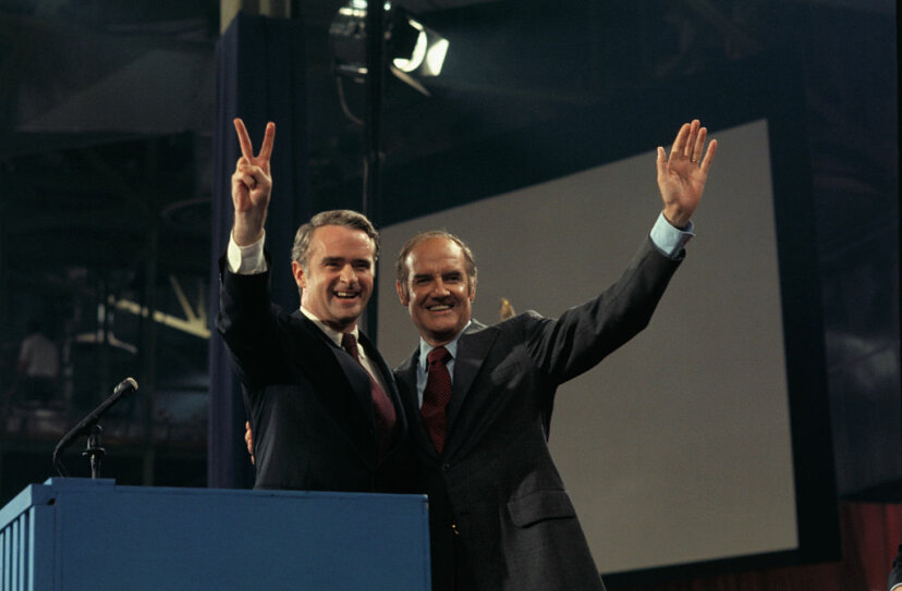 """George McGovern (right) promised to back his running mate Thomas Eagleton (left) """"1,000 percent"""" after Eagelton admitted he'd received electric shock therapy for depression. But the public furor caused Eagleton to step down two weeks later. Bettmann/Getty Images"""
