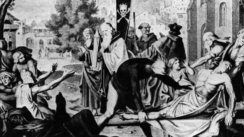 Black Death in European town