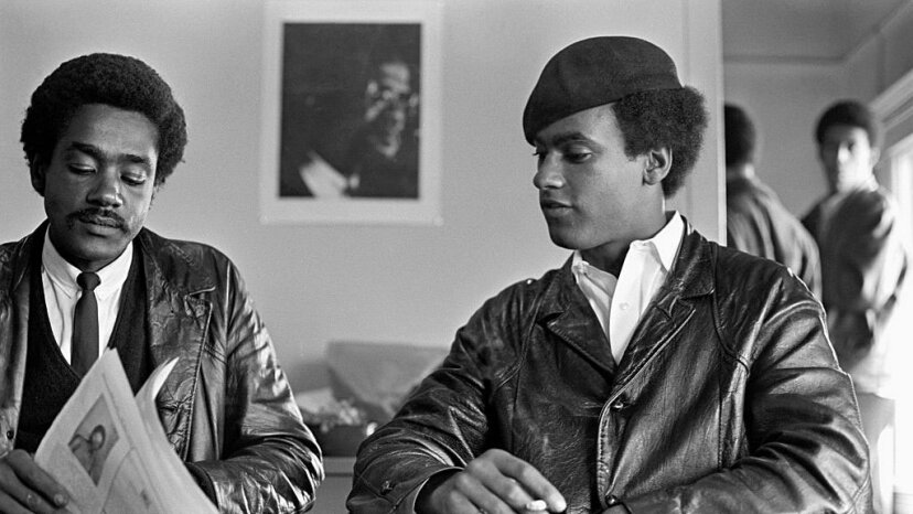 Founders of the Black Panther Party Huey Newton (R) and Bobby Seale sit together at party headquarters in San Francisco. Ted Streshinsky Photographic Archive/Getty Images