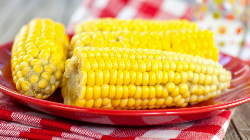 corn on red plate