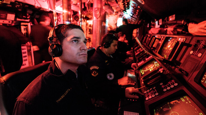 Crew members on a submarine