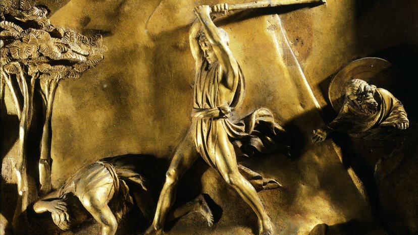 Cain killing Abel bronze detail