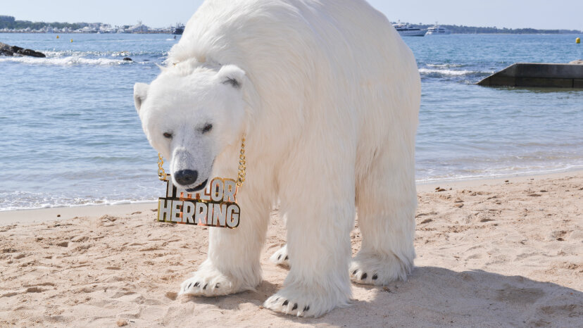A lifelike 8-foot mechanical polar bear commissioned by ad agency Taylor Herring appears on the beach during the Cannes Lions 2016 in Cannes, France. Christian Alminana/Getty Images