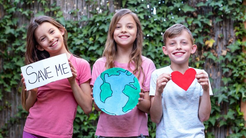 kids showing love for Earth