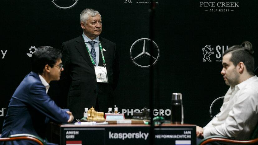 Anatoly Karpov, chess players Anish Giri and Ian Nepomniachtchi