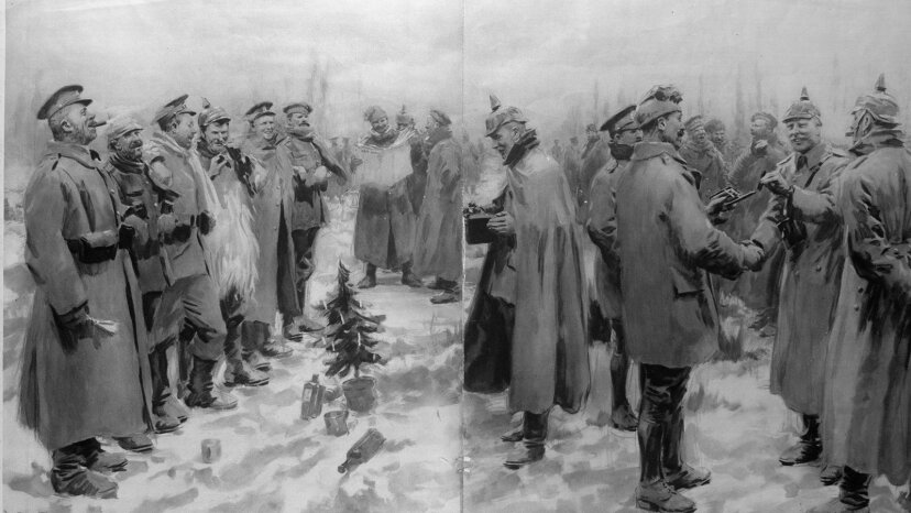German and British troops celebrating Christmas  WWI