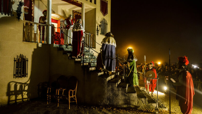 Actors perform a living nativity scene in Spain.