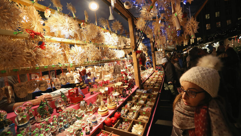 Vendors sell Christmas ornaments at the annual Christmas Market in Marienplatz.