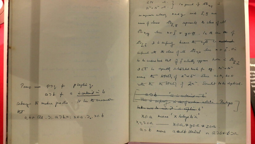 This closeup shows some writings from the notebook of Enigma codebreaker Alan Turing, who played a major part in breaking codes during the Second World War.  Chris Radburn/PA Images via Getty Images