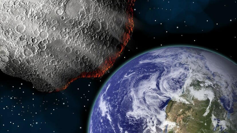 Asteroid aproaching Earth on a collison course.