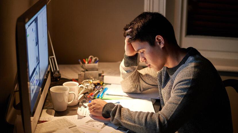 student up late cramming