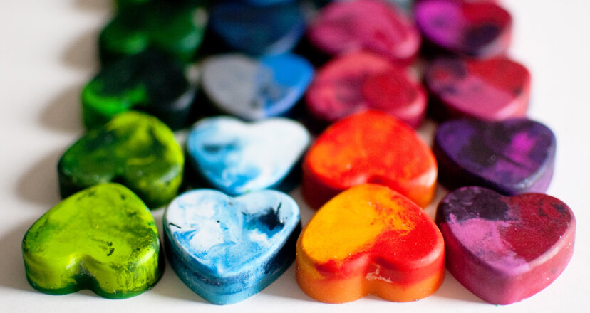 You can make your own crayons by melting down those old stubs and pouring the wax into heat-resistant molds in cool new shapes. Lisa Gutierrez/Getty Images