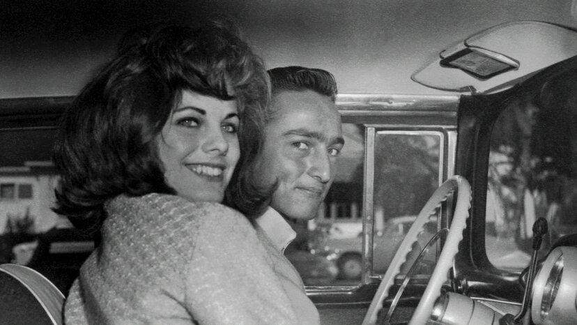 1950s couple in car