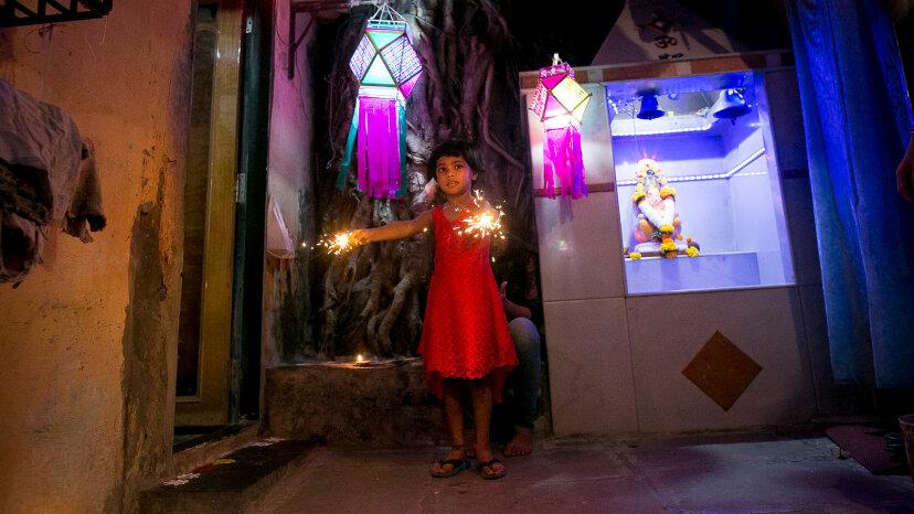 fire crackers, girl, Diwali
