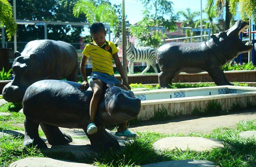 boy on model hippo
