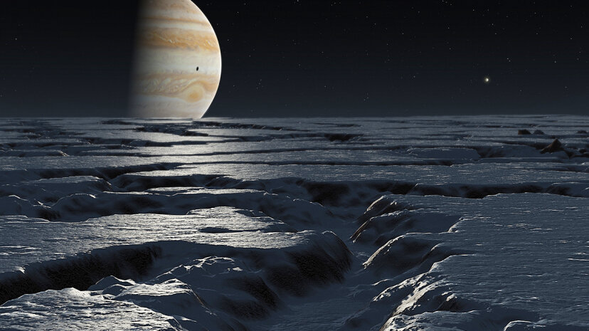 Some researchers believe that the icy landscape of Europa, Jupiter's moon depicted in this illustration, may be partially composed of ice VII. Mark Garlick/Science Photo Library/Getty Images