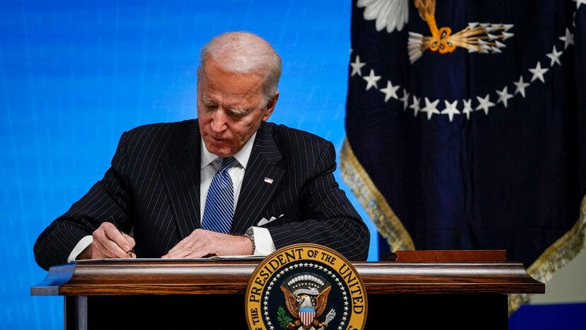 Joe Biden signing executive order