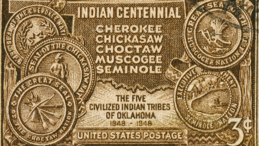 cancelled stamp of five civilized tribes
