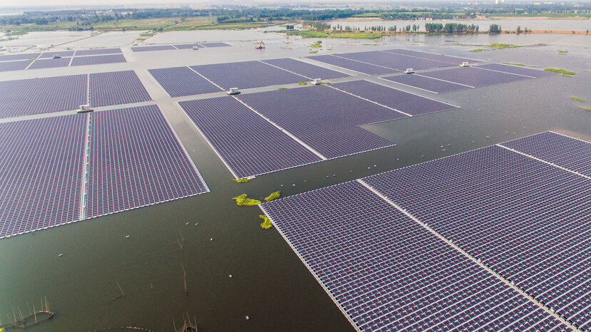 China connected the world's largest floating solar power plant in central Anhui province to its power grid in early June 2017. The solar farm will generate electricity for 15,000 homes. STR/AFP/Getty Images