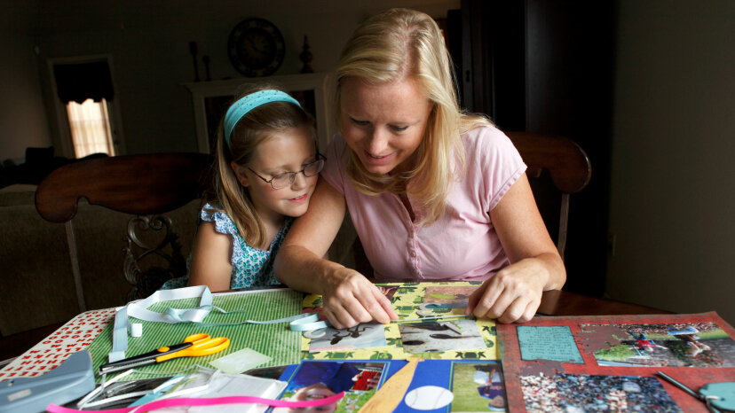 mom and daughter scrapbooking