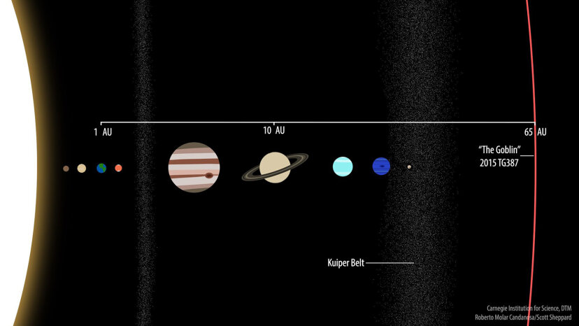 A comparison of 2015 TG387 at 65 AU with the solar system's known planets.