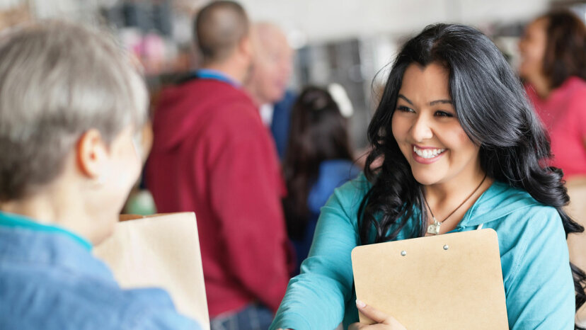 woman at donation center
