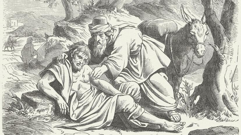 Good Samaritan woodcut