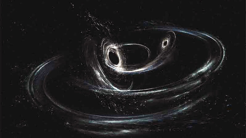This artist's conception shows two merging black holes similar to those detected by LIGO. The black holes are spinning in a non-aligned fashion, which means they have different orientations relative to the overall orbital motion of the pair. LIGO/Caltech/MIT/Sonoma State (Aurore Simonnet)