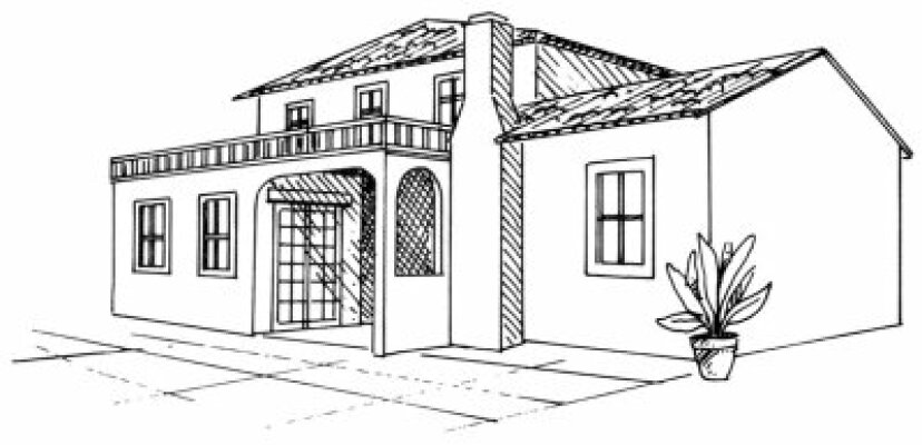 スペインの別荘の描き方