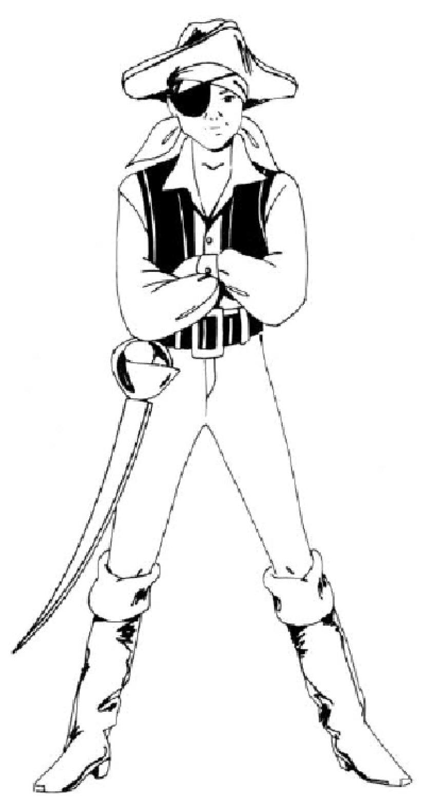 人を描く方法:海賊の衣装を着た少年