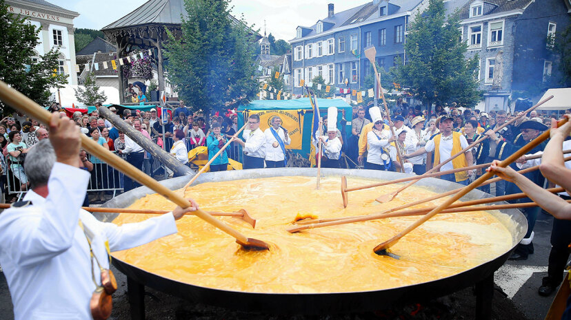 The town of Malmedy, Belgium, hosted a festival to cook a giant omelet on Tuesday, Aug. 15, 2017. Dursun Aydemir/Anadolu Agency/Getty Images