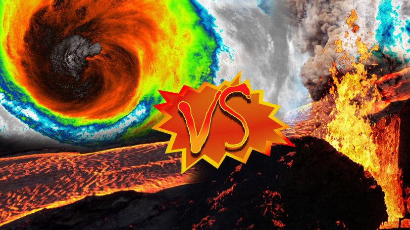 hurricane vs. volcano