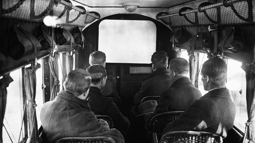 passengers watching first-ever inflight movie