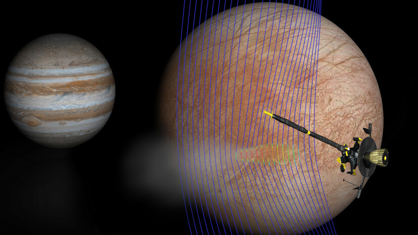 Galileo spacecraft going past Europa's plume