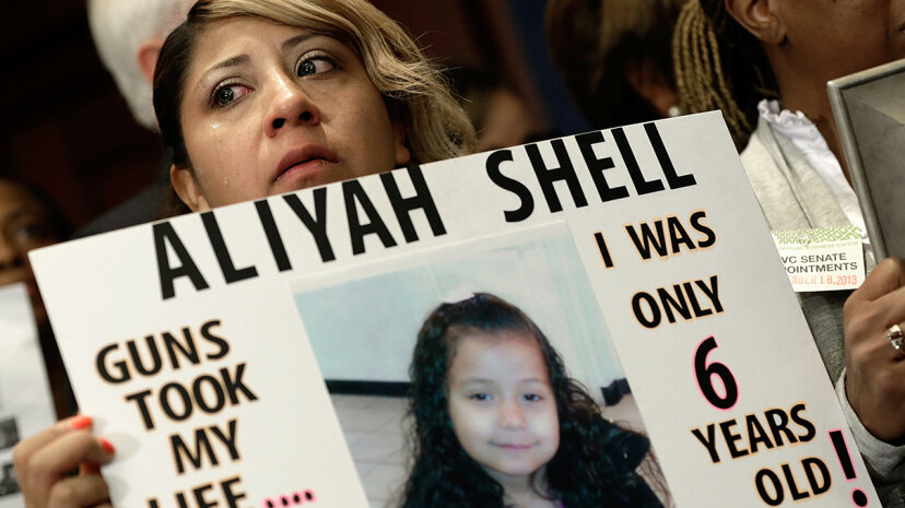 Diana Aguilar's 6-year-old daughter Aliyah Shell was killed when she was shot outside her home in Chicago in 2012. Here Aguilar is on Capitol Hill calling for gun reform legislation. Win McNamee/Getty Images